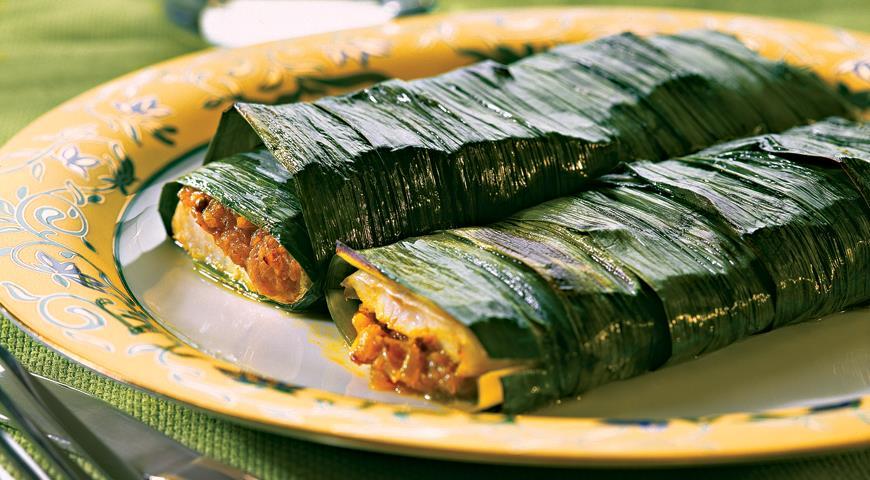 Рецепт Рыба, запеченная в листьях лука-порея