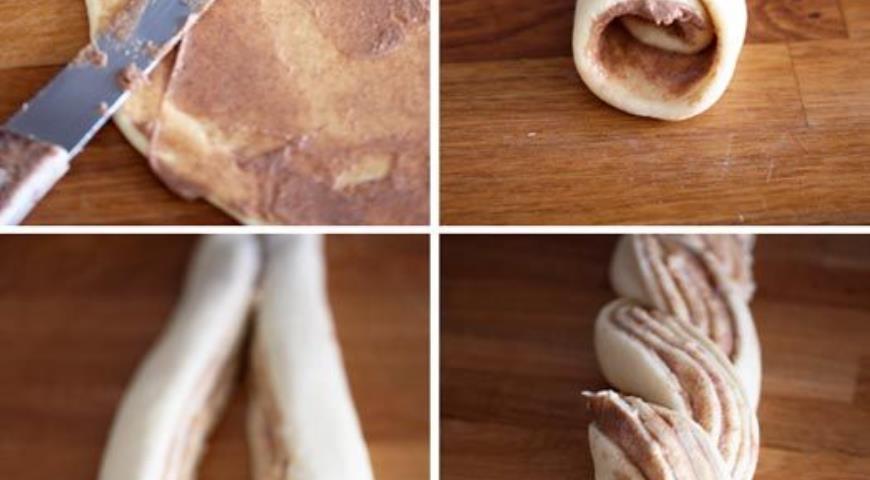 Раскатываем тесто, смазываем начинкой, формируем кранч, скручивая полоски теста