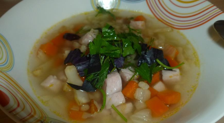 Рецепт Суп перловый с овощами и окороком