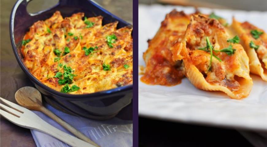 Рецепт Конкильони с курицей и грибами под соусом бешамель и пармезаном