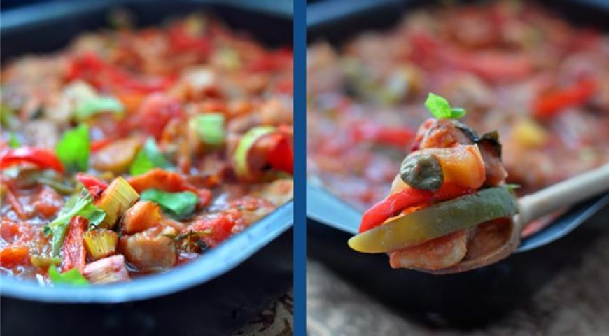 Рецепт Треска с овощами в томатном соусе