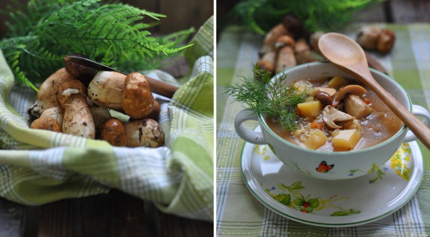 Рецепт Суп грибной с перловкой и овощами