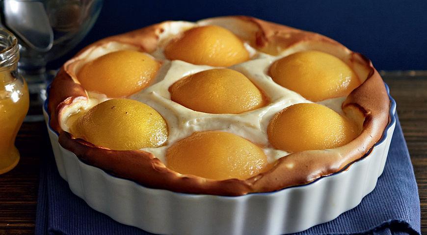 Рецепт Сырный пирог с персиками и карамелью