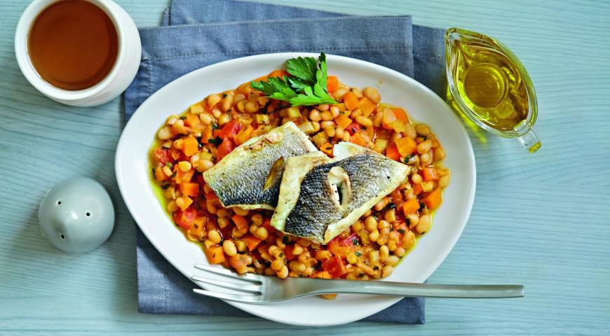 Рецепт Морской окунь с фасолью
