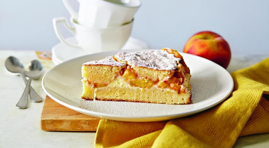 Рецепт Пирог с творогом и персиками