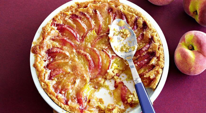 Рецепт Открытый пирог с персиками на оливковом масле