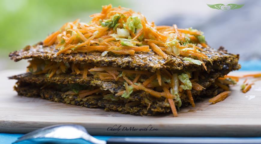 Рецепт Сочный Сандвич с хрустящими хлебцами и оранжевым настроением