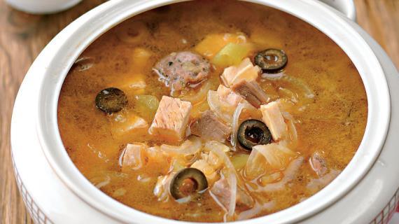 Солянка мясная сборная, пошаговый рецепт с фото