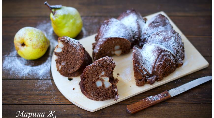 Рецепт Шоколадная шарлотка с грушей в корице