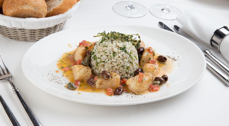 Рецепт Спельта с морскими гребешками, кинзой, оливковым маслом и лимоном