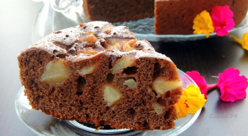 Рецепт Шоколадная шарлотка с грушей