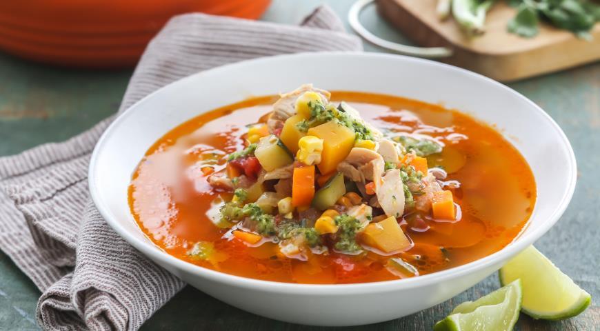 Рецепт Куриный суп с овощами и заправкой из кинзы