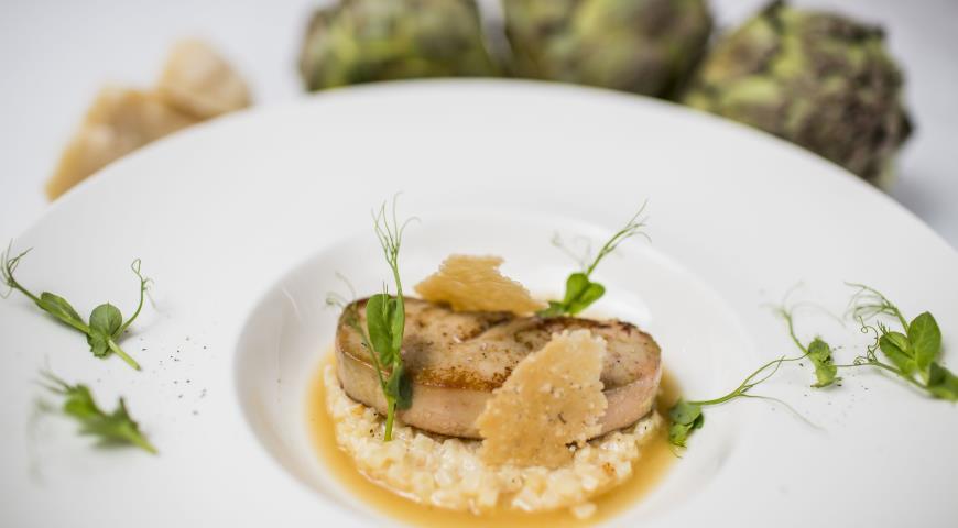 Рецепт Ризотто из сельдерея с утиной фуа-гра и бульоном