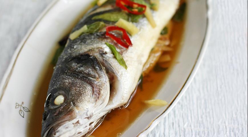 Рецепт Рыба с имбирем и зеленым луком на пару