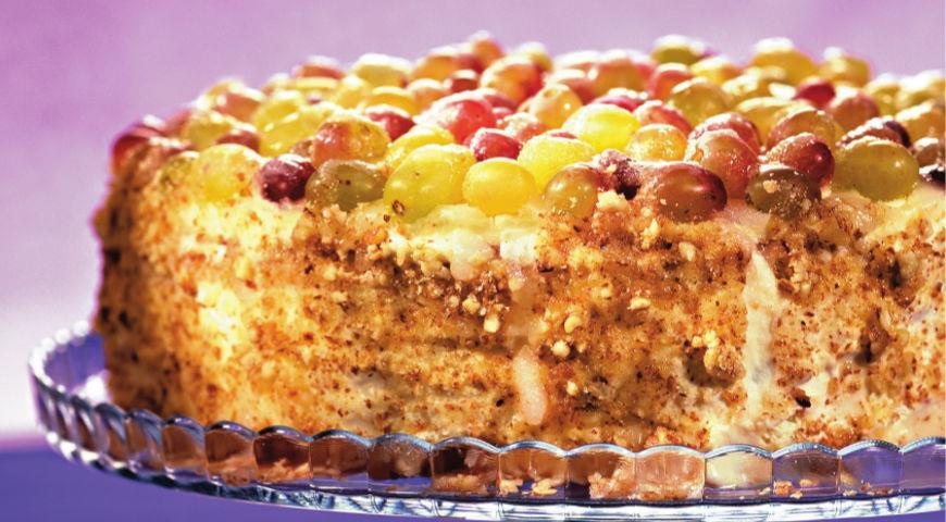Рецепт Творожный торт с виноградом