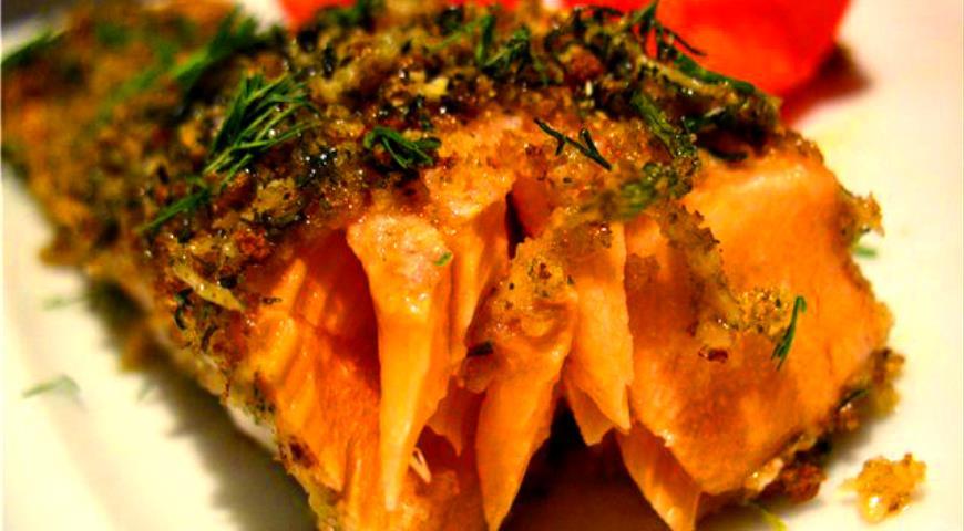Рецепт Запечённая рыба в «зелёной» панировке