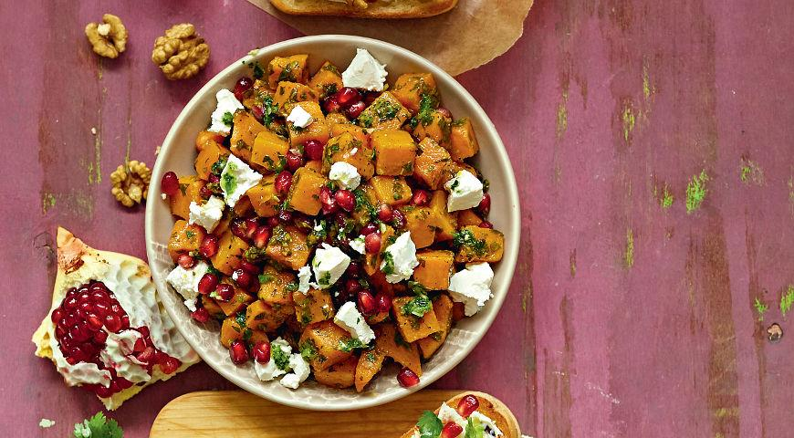Рецепт Теплый салат из сладкого картофеля с гранатами