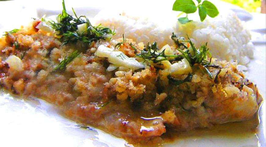 Рецепт Лимонная рыба под орехово-хлебным штрейзелем