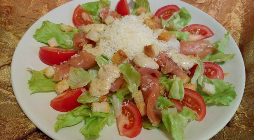 Рецепт салата цезарь рыбный