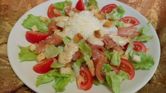 салат цезарь с шампиньонами рецепт с фото