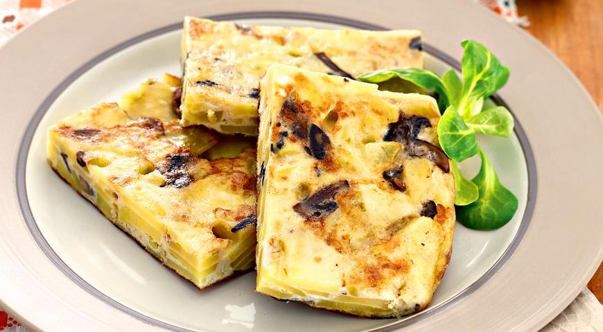 Рецепт Тортилья, омлет с картофелем и грибами
