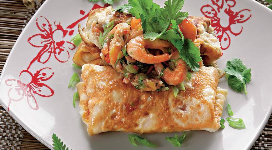 Рецепт Тайский омлет с креветками