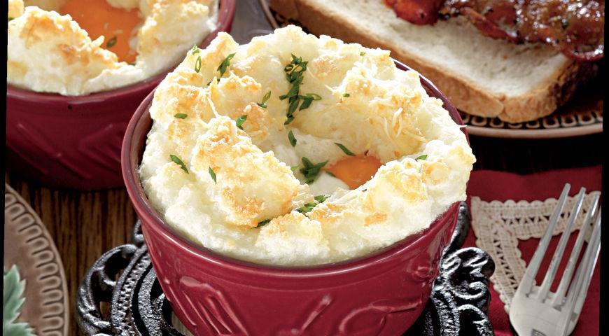 Рецепт Запеченные яйца с сыром и остро-сладким беконом