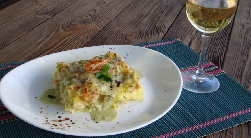 Рецепт Лазанья с морепродуктами (рыба зубатка, креветки и гребешки)