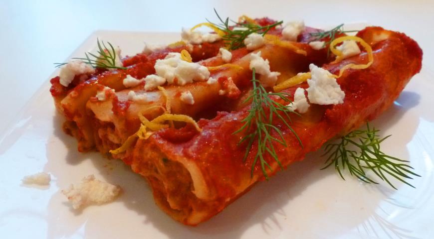Рецепт Каннеллони с рыбой, грибами и адыгейским сыром