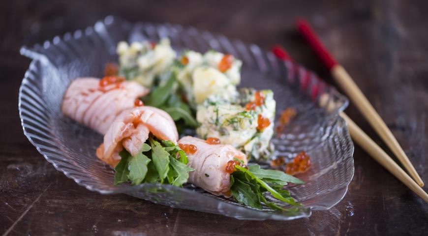 Рецепт Картофельный салат с обожженным сашими из лосося