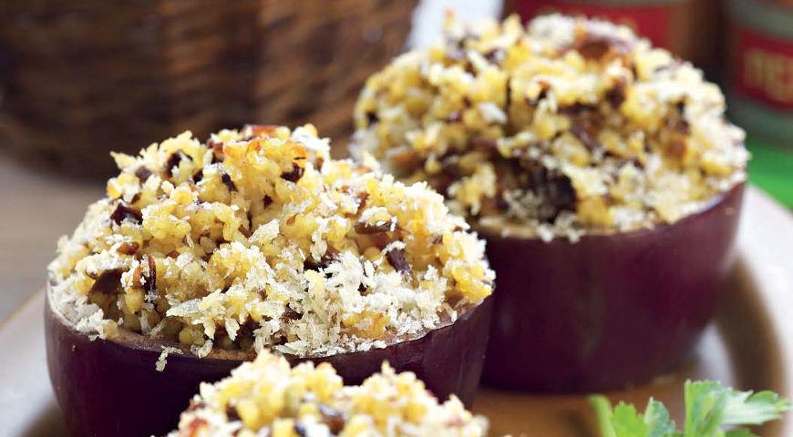 Рецепт Баклажаны с грибами и пшенкой