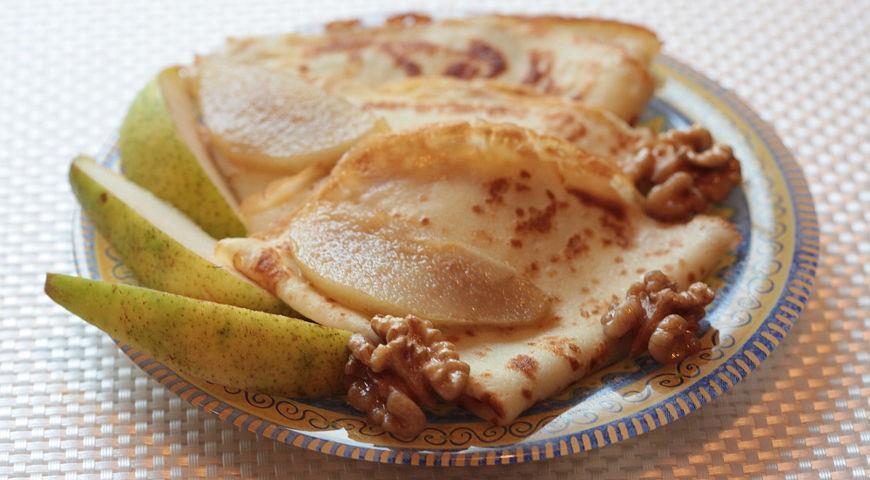 Рецепт Блинчики с лимонными грушами