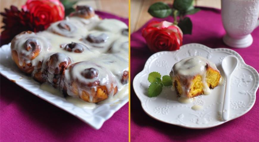 Рецепт Тыквенные булочки с корицей и заливкой от амишей