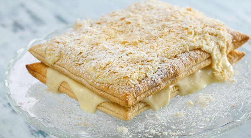 Рецепт Торт Наполеон из готового слоеного теста