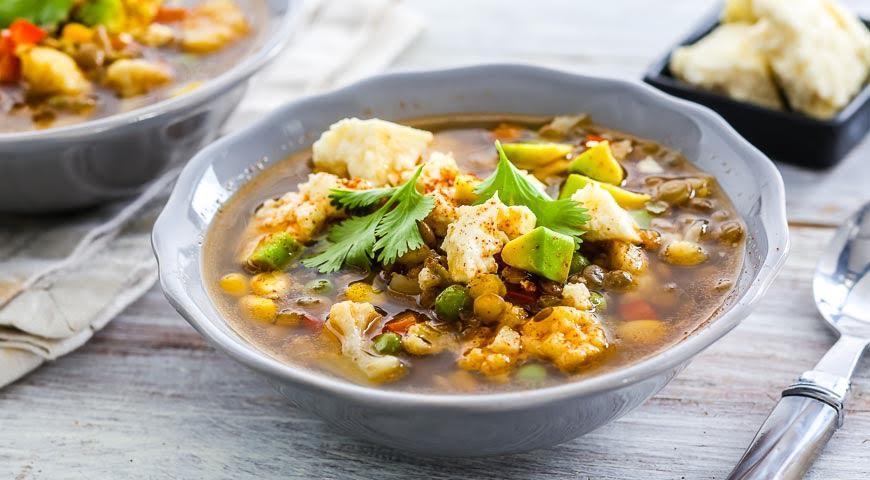 Рецепт Суп из чечевицы с овощами и сыром