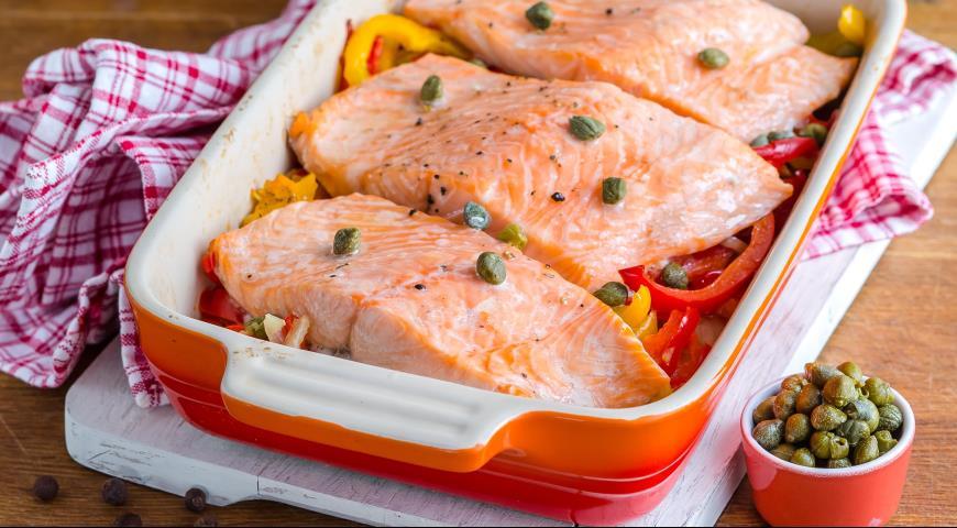 Рецепт Запеченное рагу из рыбы с перцем