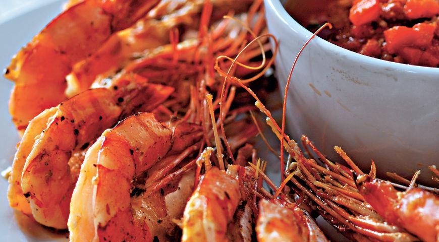 Рецепт Запеченные креветки с соусом ромеско