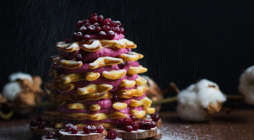 Рецепт Венские вафли с ягодным творогом