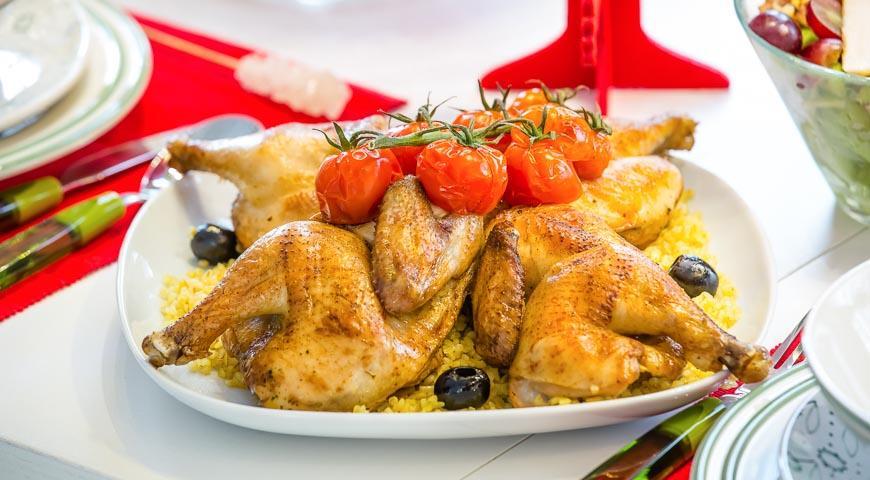 Рецепт Цыплята-корнишоны с булгуром и томлеными помидорами черри