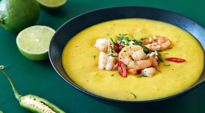 Рецепт Острый суп из манго с креветками