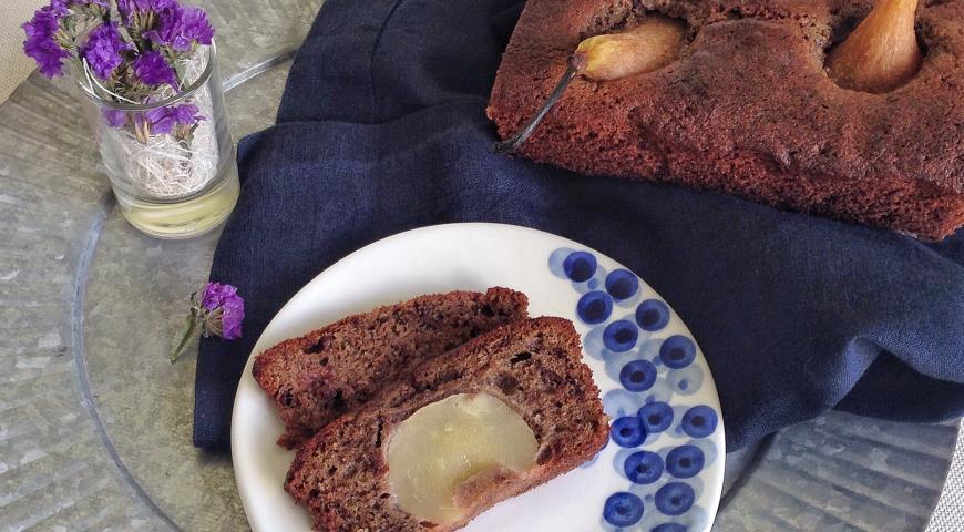 Рецепт Шоколадно-черемуховый кекс с грушей