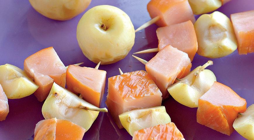 Рецепт Копченая курица с мочеными яблоками
