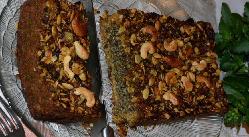 Рецепт Пирог из чечевицы с брокколи, грибами и семечками