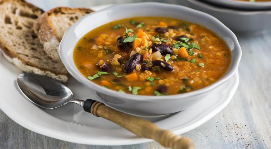 Рецепт Суп из чечевицы с фасолью