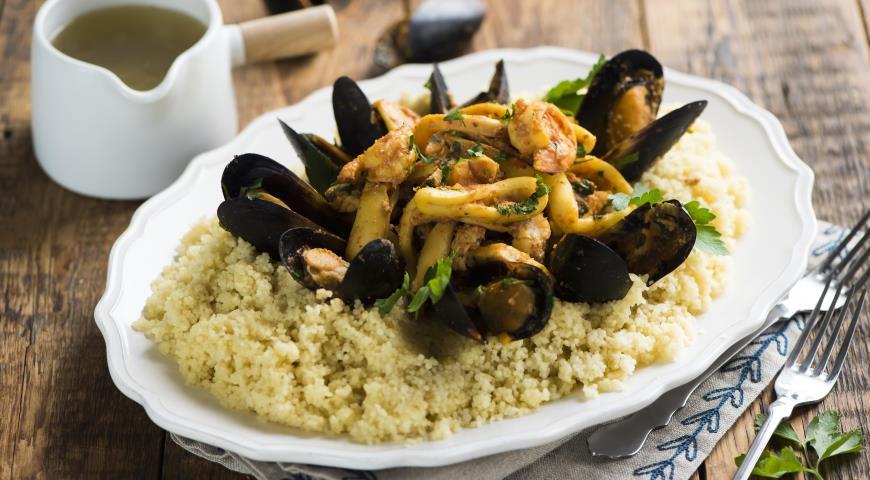 Рецепт Сицилийский кускус с рыбой и морепродуктами