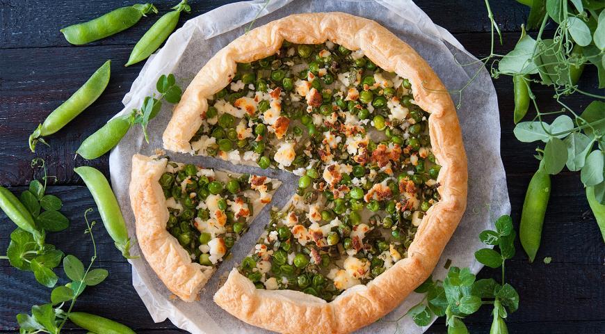 Рецепт Галета из молодого горошка с зеленым луком, пряными травами и брынзой