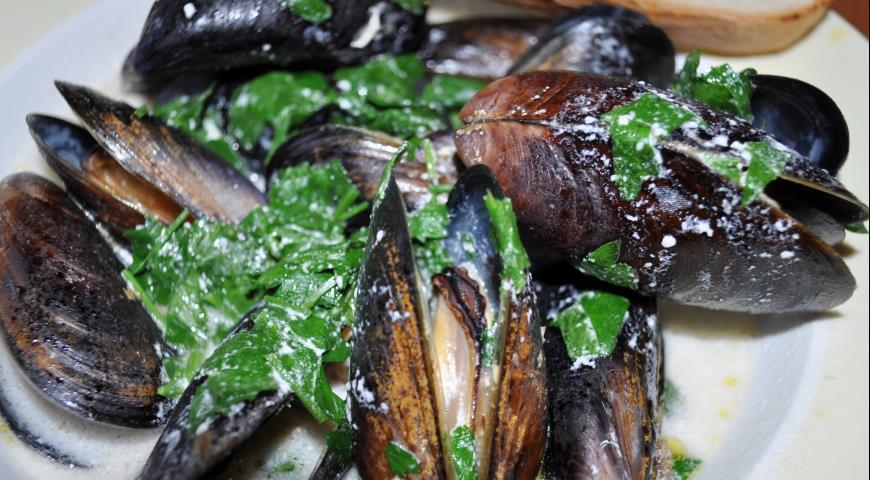 Рецепт Ялтинские мидии в ракушках