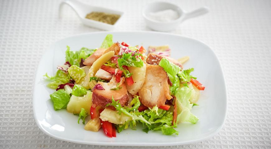 рецепты салат с конченой курицей