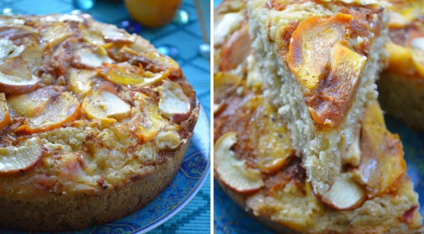 Рецепт Яблочный пирог с хурмой и овсяными хлопьями