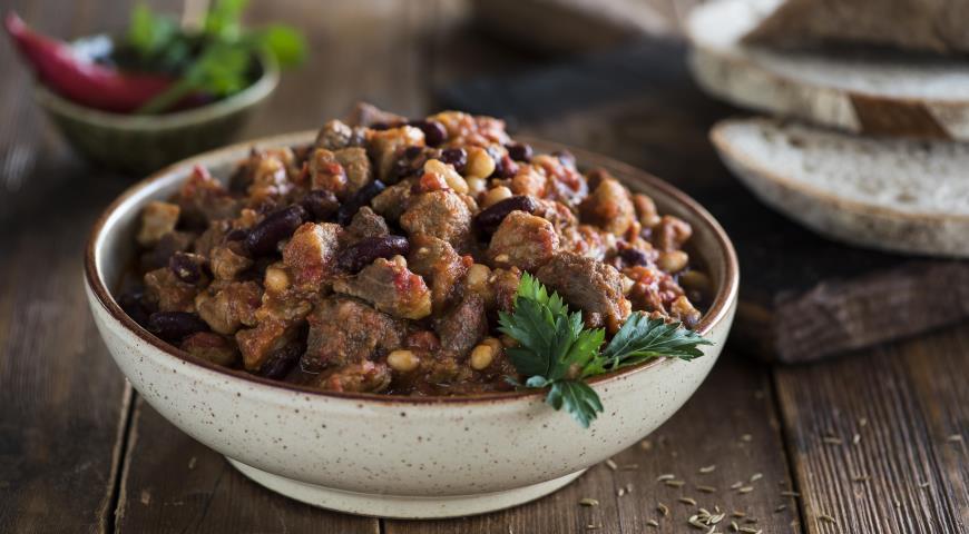 Рецепт Чили с говядиной, свининой и фасолью